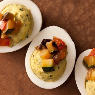 Pistou Deviled Eggs with Ratatouille