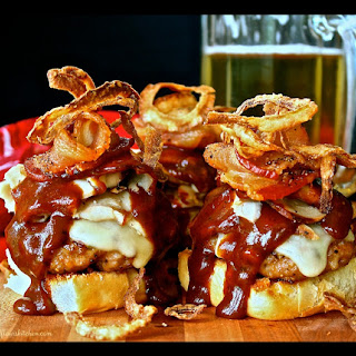 Triple Pork Sliders with Texas BBQ Gravy, Swiss and Onion Haystacks.