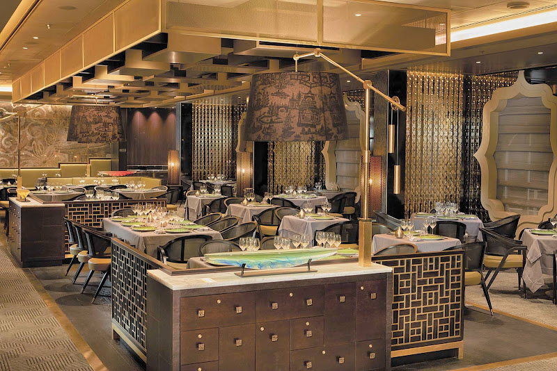 Look for Pan-Asian creations such as grilled Korean barbecue lamb chops, wok-fried beans and eryngii mushrooms at Pacific Rim on Seven Seas Explorer.