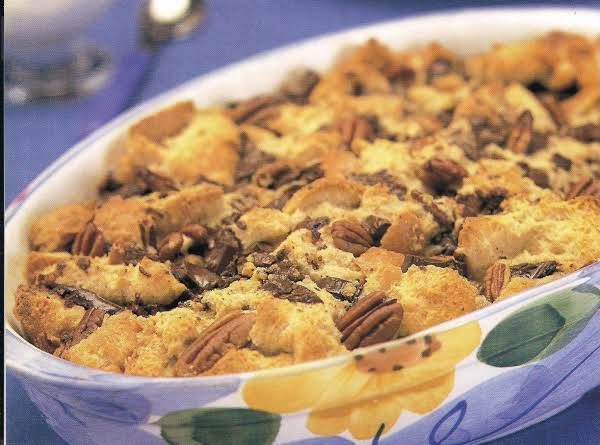 Chocolate Chip Pecan Bread Pudding With Whiskey Cr