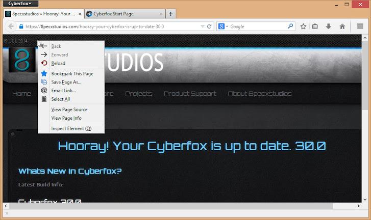 Cyberfox default appearance