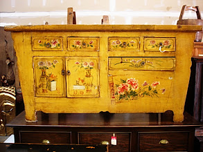 "Photo: F 004 Antiques Chinese Hand Painted Cabinet 66""W x 20.5""D x 39""H Sale Price $800"