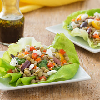 Vegetable Balsamic Lentil Salad in a Butter Lettuce Cup.