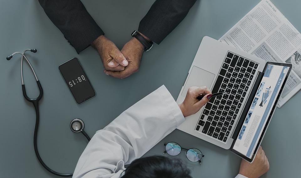 コンピュータ, ビジネス, オフィス, 技術, ラップトップ, アメリカ, 白人, クリニック, 接続, 医師