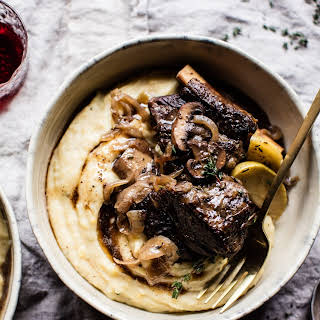 Crockpot Cider Braised Short Ribs with Browned Sage Butter Mashed Potatoes..
