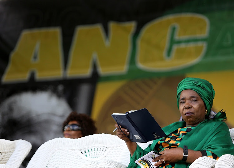 Nkosazana Dlamini-Zuma on stage ahead of a her address at a send-off rally in Durban on Saturday.  Picture: THULI DLAMINI