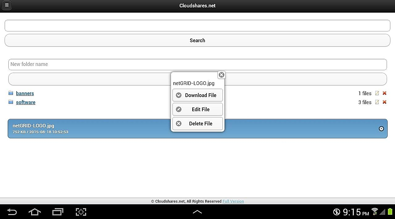 Cloudshares.net Cloud Storage- screenshot