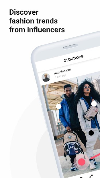 21 Buttons: Fashion Social Network & Clothing Shop Android App Screenshot