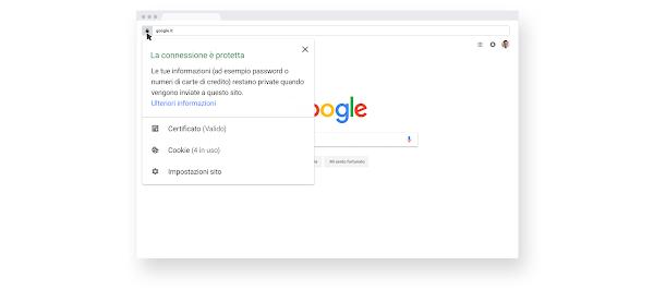 Schermata di informazioni sulla navigazione sicura HTTPS