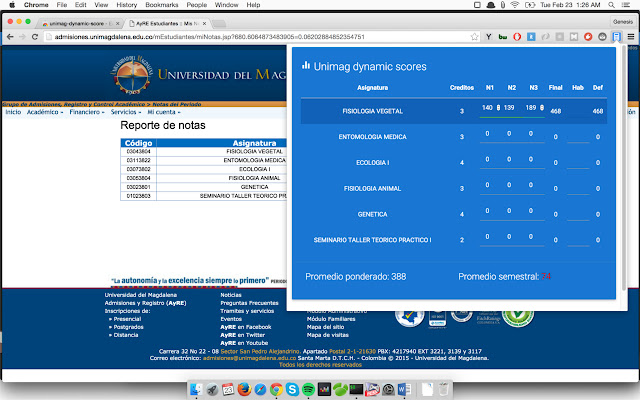 Calculadora de notas Unimag