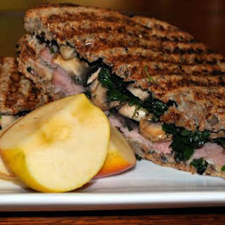 Ham and Swiss Panini With Mushrooms and Kale.