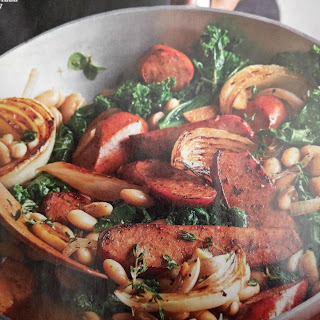 Greens, Cannellini Beans, and Andouile Sausage Pan Stew