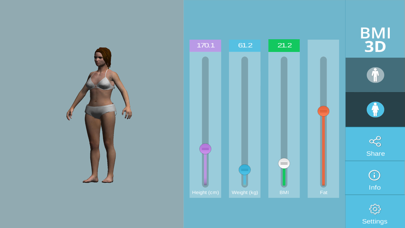 3D BMI Calculator Free- screenshot