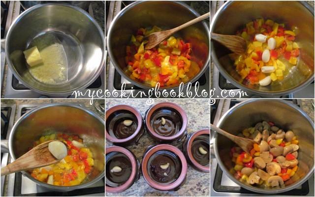 Гювечета с кайма и зеленчуци