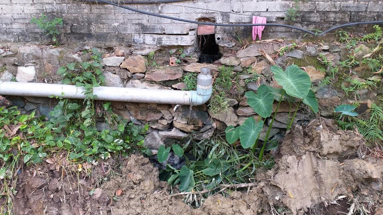 Nước thải bẩn từ nhà ăn của Nhà máy EM - Tech chảy qua bờ tường rào ra ngoài