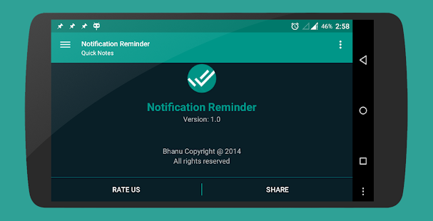 Quick Notes Reminder in notification Screenshot