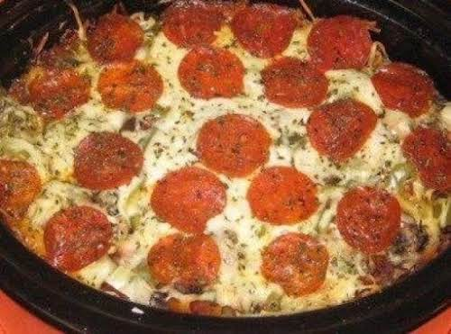 "Crock Pot Pizza Pasta Recipe ""I made this tonight and it was delicious!..."