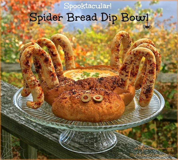 FOR SPIDER: Spray frozen loaf of bread dough with butter-flavored cooking spray, wrap tightly in...