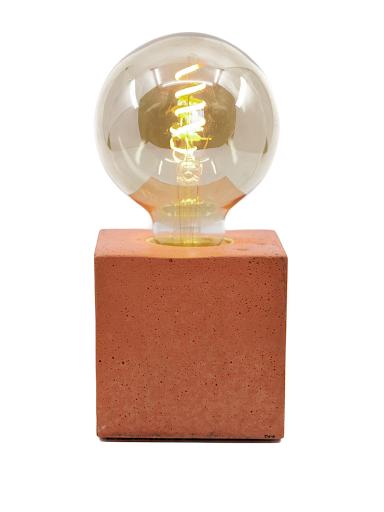 Lampe cube béton orange
