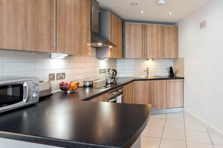 Fully equipped kitchen at PREMIER SUITES Liverpool