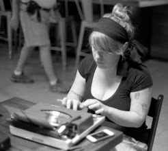 Photo: Billie wrote all her monthly letters on the various machines.