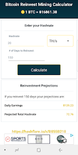 Bitcoin Reinvest Mining Calculator - náhled