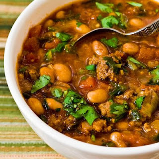 Pressure Cooker (or Stovetop) Recipe for Pinto Bean and Ground Beef Stew with Cumin and Cilantro.