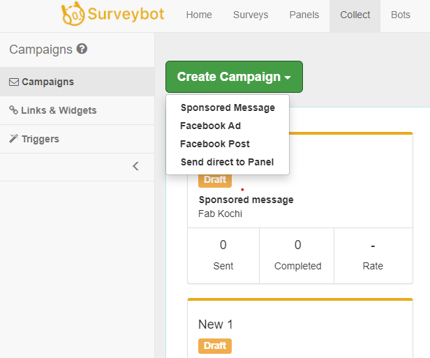 Create campaign with Surveybot dashboard