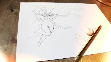 Photo: Primers esbossos de la il·lustradora Montse Bugatell per a un llibre d'encàrrec fet a Llibres Artesans · Fem els llibres del futur: relats breus, aforismes i poemes escrits a mà