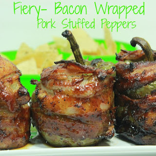 Fiery Bacon Wrapped Pork Stuffed Peppers
