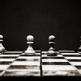 Chess by Dmitriy Yanushevichus - Uncategorized All Uncategorized ( victory, noir, open, defeat, challenge, start, still life, chess board, strategy, game, chess knight, king )