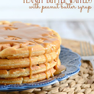 Peanut Butter Waffles with Peanut Butter Syrup
