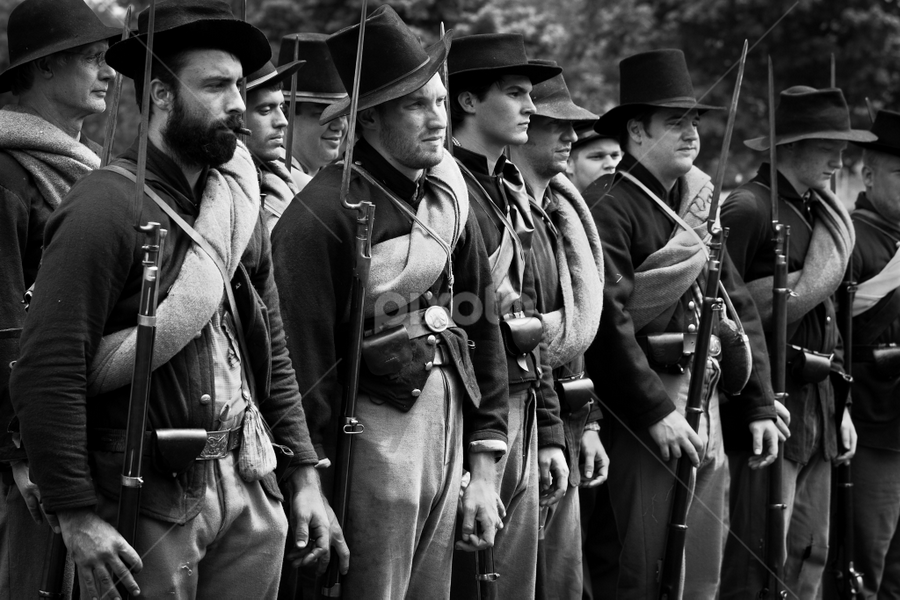 Forming Up Again by Mike Trahan - People Street & Candids ( reenactment, forming up, civil war, military )