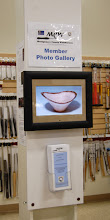 Photo: MCW member photo gallery installed in the Woodworker's Club retail area by Bert Bleckwenn.