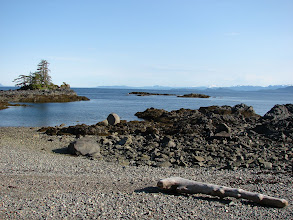 Photo: Looking south down Clarence Strait from a beach near Niblack Point.