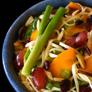 Persimmon-Grape Udon Salad with Ginger Miso Dressing.