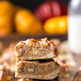 Paleo Pumpkin Caramel Pecan Fudge Bars w/Cookie Crust