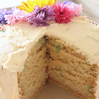 Vegan Edible Flower Confetti Cake.