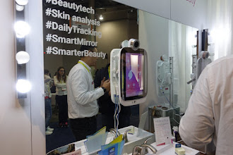 "Photo: I saw a few of these ""smart"" mirrors aimed at beauty tracking.   Carly Simon ran through my mind."