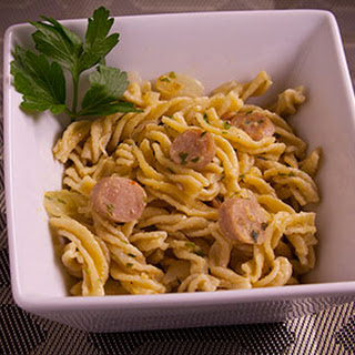 Onion & Garlic Fusilli with Chicken Sausage.