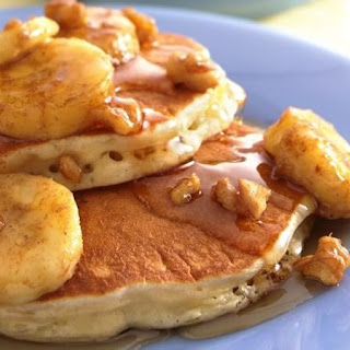 Oatmeal-Brown Sugar Pancakes with Banana-Walnut Syrup