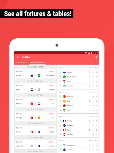 World Cup App 2018 - Live Scores & Fixtures  screenshots 7