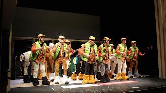 El grupo de Gádor llegó a tener a 13 participantes cantando sobre las tablas del Teatro Apolo.