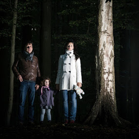 Ambiance by Max Mayorov - People Family ( scary, birch, strobist, white, scared, forest, ambiance, people, portrait, kid, child, tree, woman, family, dark, man )