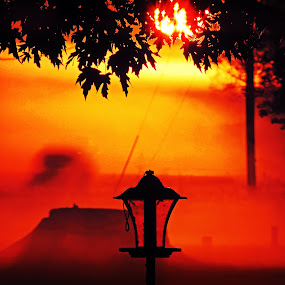 Lamp at Sunrise by Grady  Welch - Artistic Objects Other Objects ( orange, red, sunrise, vibrant, lamp )