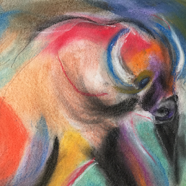 Bull by Jeanne Knoch - Painting All Painting