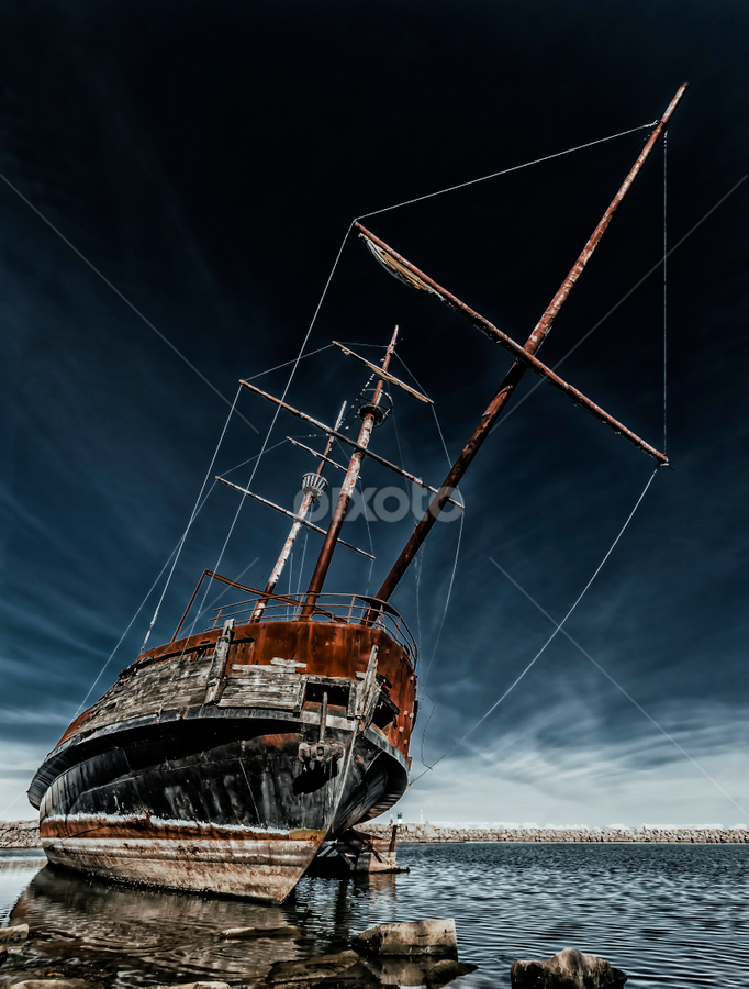 Ghost Ship on Shore by Sarah Hauck - Transportation Boats ( water, shore, ship, lake, rusty )