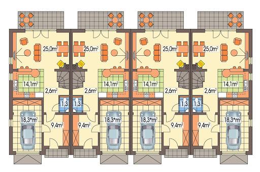 Hubert 2 zestaw 4 segmentów L+SL+S+LL - Rzut parteru