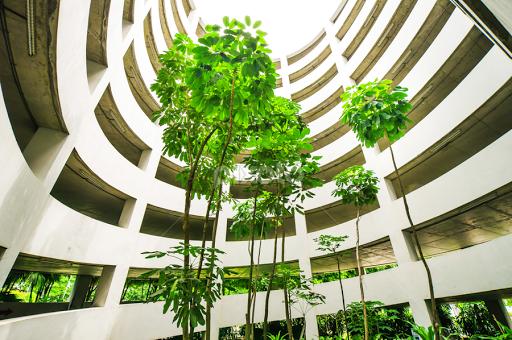 Green Garden In Car Park Building,between Spiral Ramp By Tanawat Pontchour    Buildings U0026