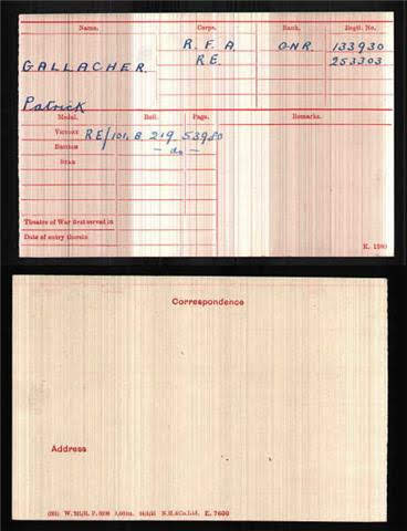 Patrick  Gallacher's Medal Index Card